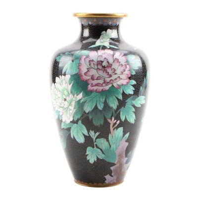 Chinese Cloisonné Vase with Floral Motif, 20th Century