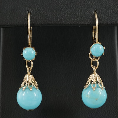 14K Yellow Gold Turquoise Dangle Earrings