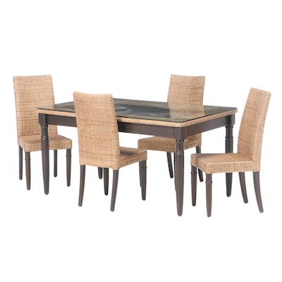 Glass Top Table and Four-Chair Wicker Dining Set