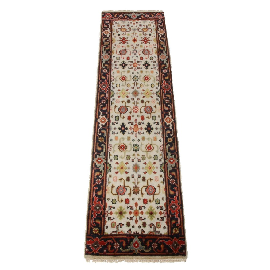 2'7 x 9'10 Hand-Knotted Indo-Persian Mahal Rug Runner, 2010s