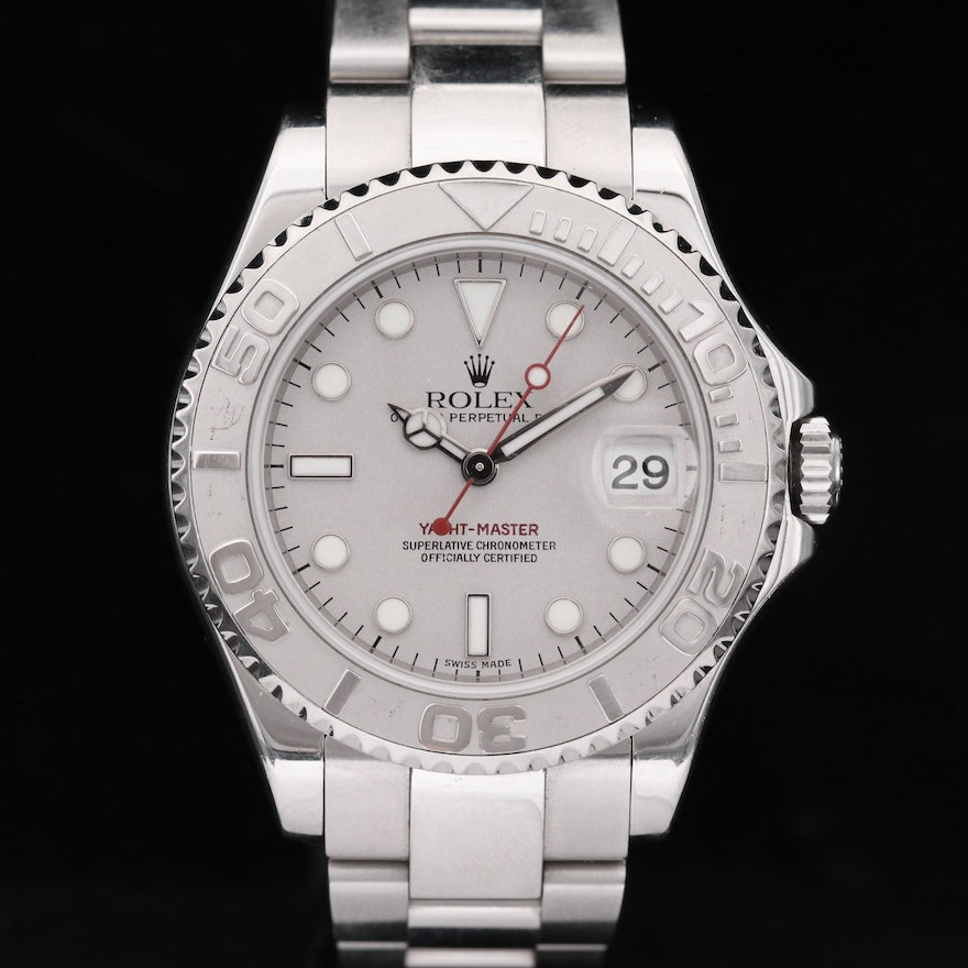 Rolex Yacht-Master 168622 Mid-Size Platinum and Stainless Steel Wristwatch