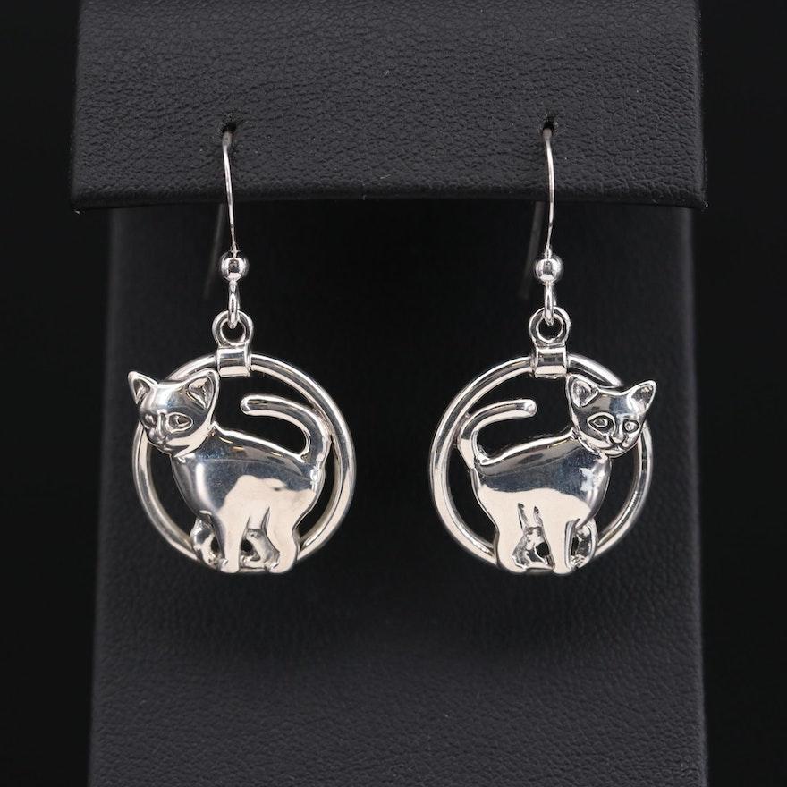 Kabana Sterling Silver Cat Earrings