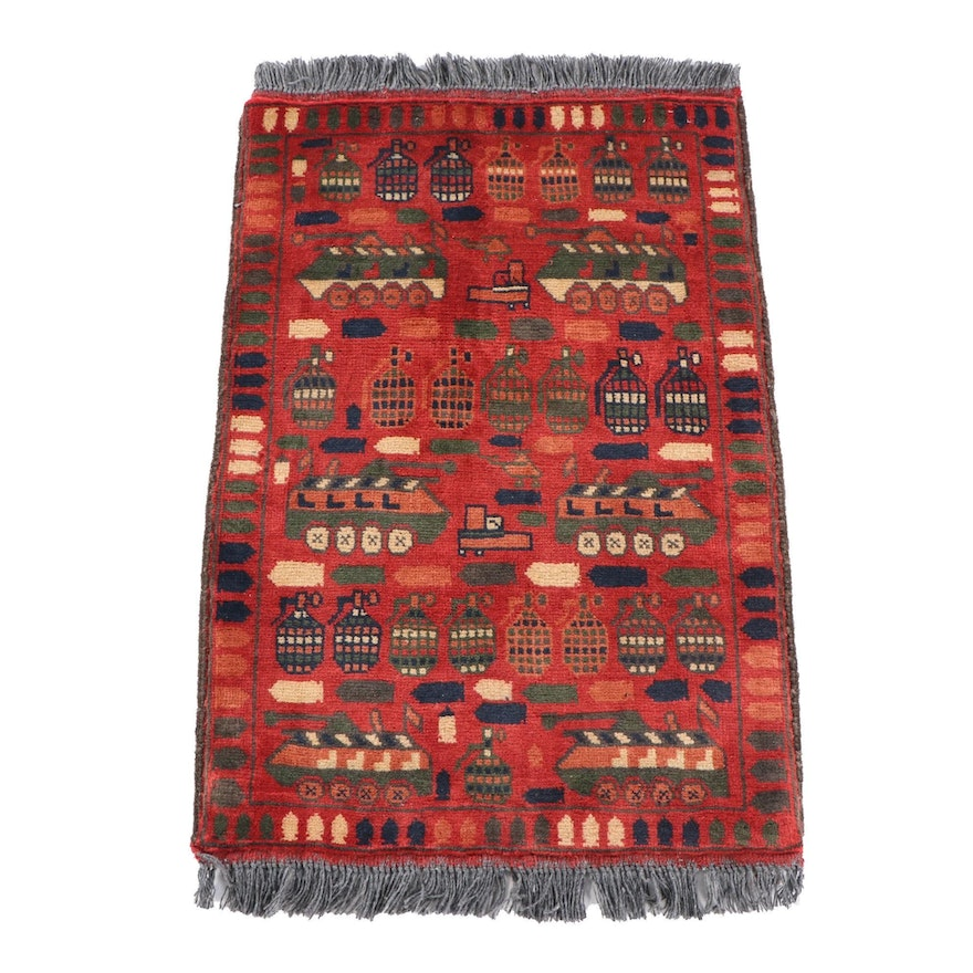 2'1 x 3'5 Hand-Knotted Afghan Wool War Rug