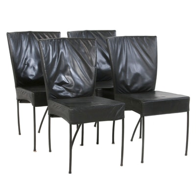 Set of Four Modern Style Black Faux Leather Upholstered Dining Chairs