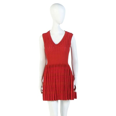 Alaïa of Paris Red Silk Blend Blister Knit Fit and Flare Sleeveless Dress