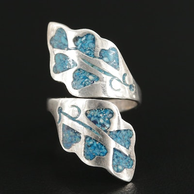Mexican Sterling Silver Turquoise Pieces in Resin Bypass Ring
