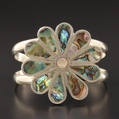 Abalone Floral Cuff Bracelet
