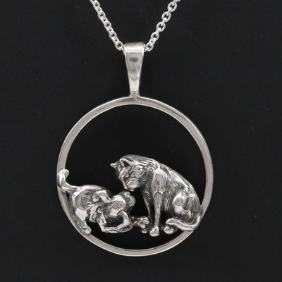 Kabana Sterling Silver Playful Cat and Dog Pendant Necklace