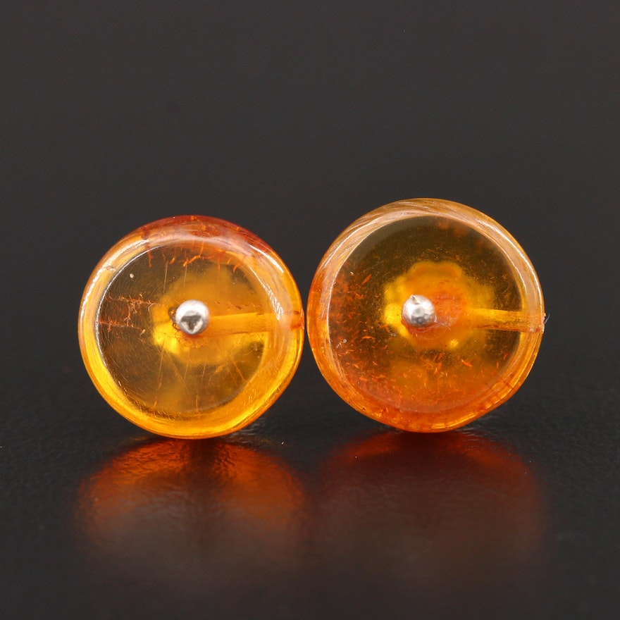 Sterling Silver Amber Button Earrings