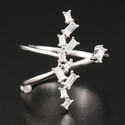 18K White Gold Diamond Open Top Ring