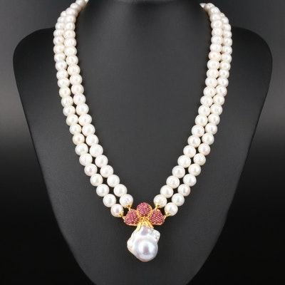 Sterling Silver Pearl and Ruby Double Strand Necklace