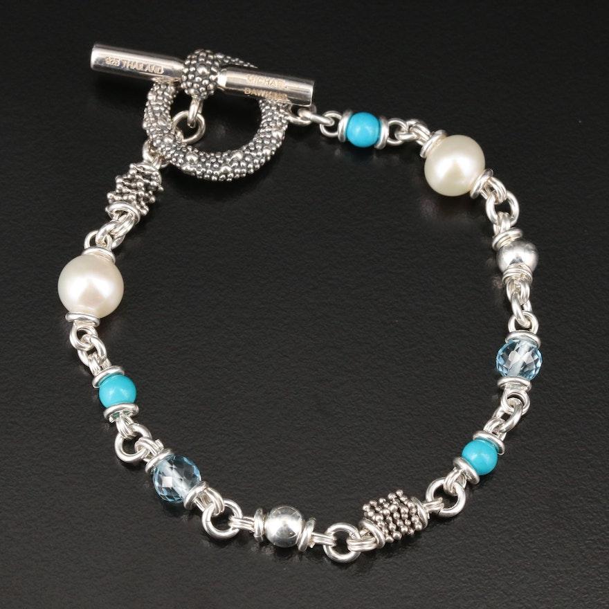 Michael Dawkins Sterling Silver Pearl and Gemstone Bracelet