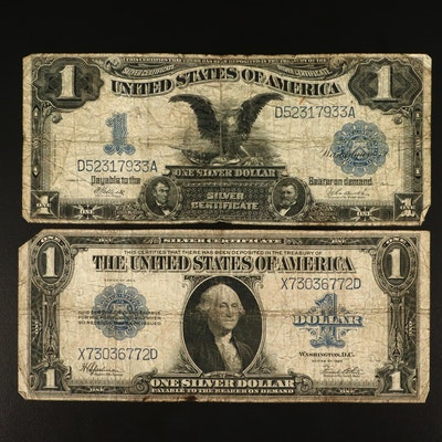 Two Various Large Currency Notes Including Series of 1923 $1 Silver Certificate