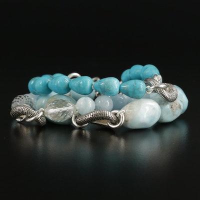 Michael Dawkins Sterling Beaded Larimar, Aquamarine, and Turquoise Bracelet