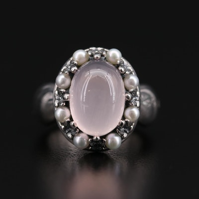 Ann King Sterling Silver Rose Quartz and Cultured Pearl Ring