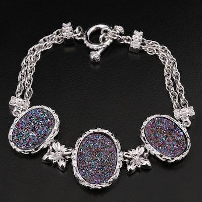 Sterling Silver Druzy Bracelet