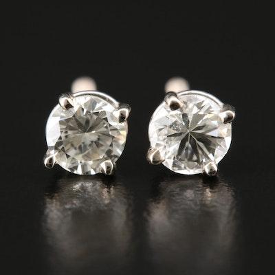 14K White Gold 0.78 CTW Diamond Solitaire Stud Earrings