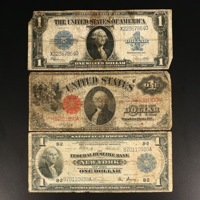 Three Various Large Currency Notes Including 1917, 1918 and 1923