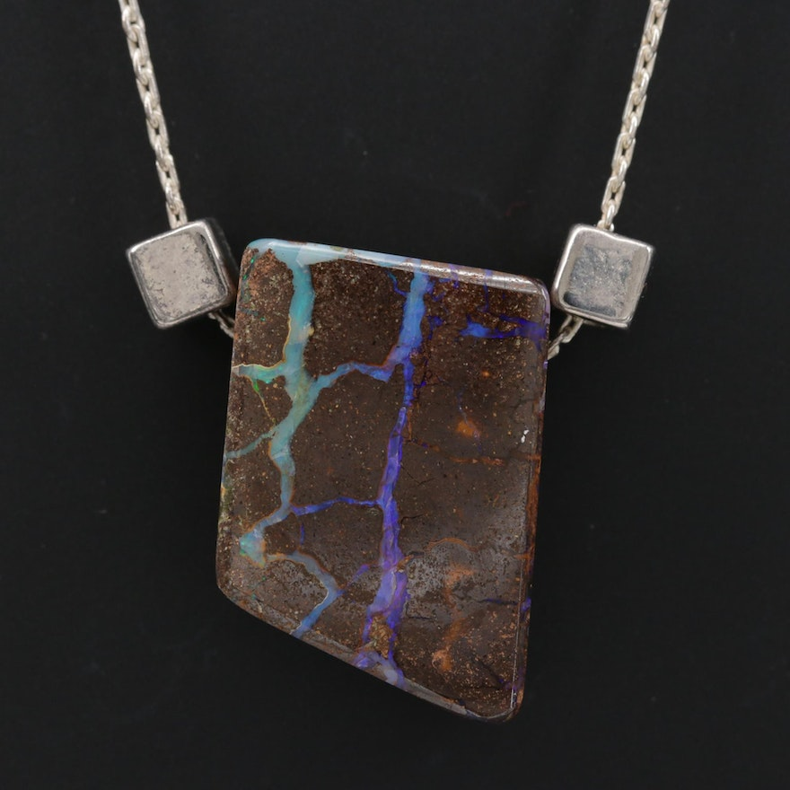 Sterling Boulder Opal Necklace with Amethyst Accent