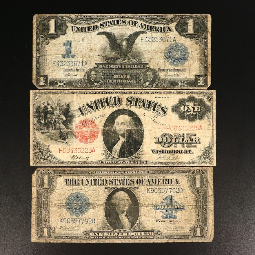 Three Various Large Currency Notes Including series of 1917 $1 U.S. note