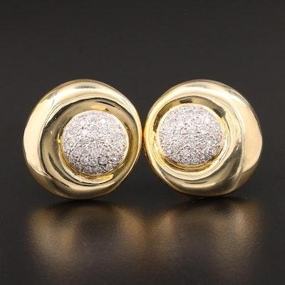 14K Yellow Gold 2.48 CTW Diamond Button Earrings