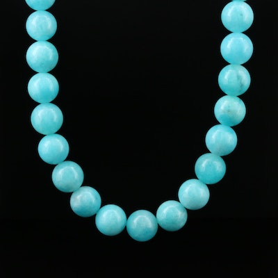 Michael Dawkins Beaded Amazonite Necklace With Sterling Silver Clasp