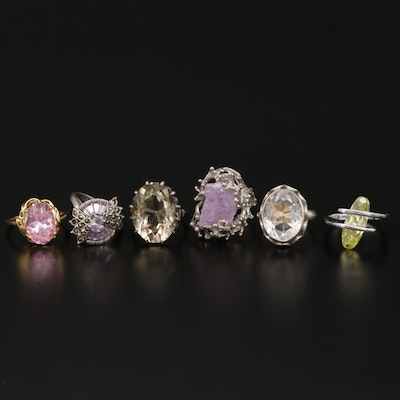 Sterling Ring Collection with Amethyst, Cubic Zirconia and Quartz