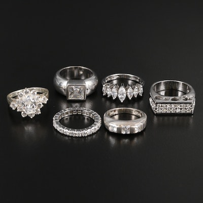 Sterling Silver Ring Assortment with Rhinestones and Cubic Zirconia