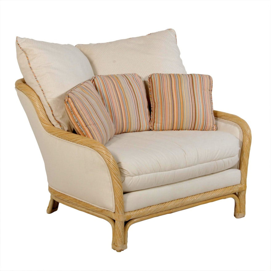 Oversized Rattan Armchair in the Style of Ficks Reed
