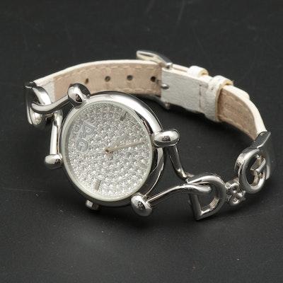 Dolce & Gabbana Pavé Rhinestone Logo Wristwatch with White Leather Band