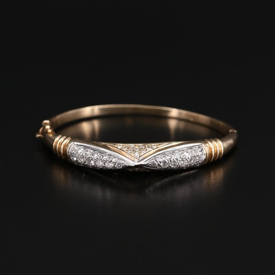 14K Yellow Gold 2.54 CTW Diamond Hinged Bracelet with White Gold Accent