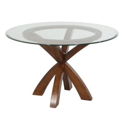 Contemporary Walnut-Stained Glass Top Dining Table