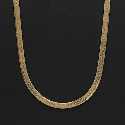 14K Yellow Gold Herringbone Chain Necklace