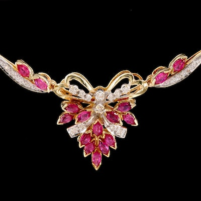 14K Yellow Gold Ruby and Diamond Chevron Necklace