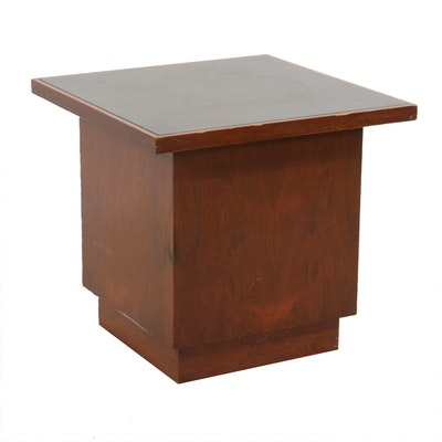Mid Century Modern Style Stone-Top Walnut End Table