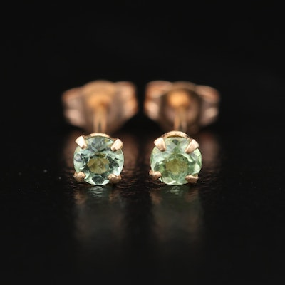 14K Yellow Gold and Peridot Stud Earrings