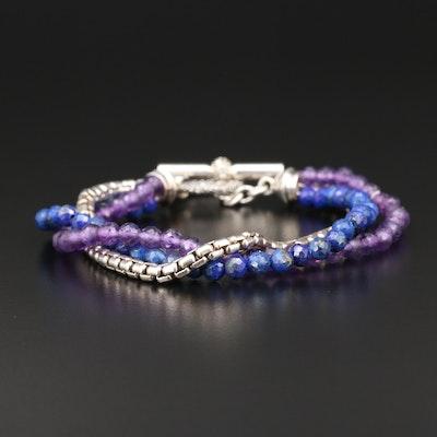 Michael Dawkins Sterling Silver Lapis Lazuli and Amethyst Multi-Strand Bracelet