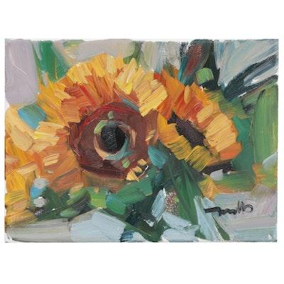 "Jose Trujillo Oil Painting ""Bundle of Sunflowers"""