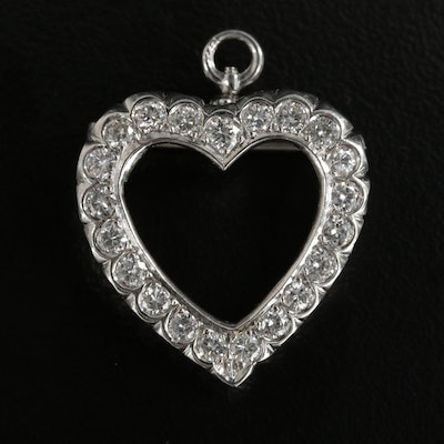 14K White Gold 1.05 CTW Diamond Heart Converter Brooch