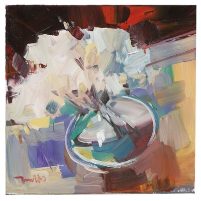 """Jose Trujillo Oil Painting """"White Chrysanthemums"""""""
