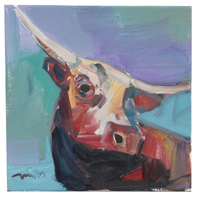 "Jose Trujillo Oil Painting ""The Long-Horn Bull,"" 2019"