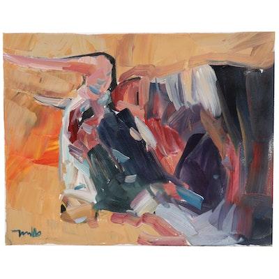 "Jose Trujillo Oil Painting ""The Fighting Bull,"" 2019"