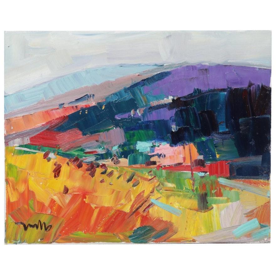 "Jose Trujillo Landscape Oil Painting ""The Rolling Hills,"" 2019"