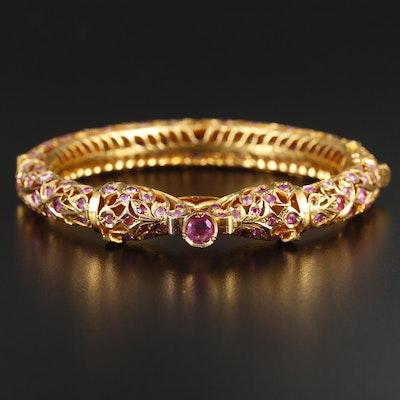 10K Yellow Gold Ruby Double Serpent Bracelet