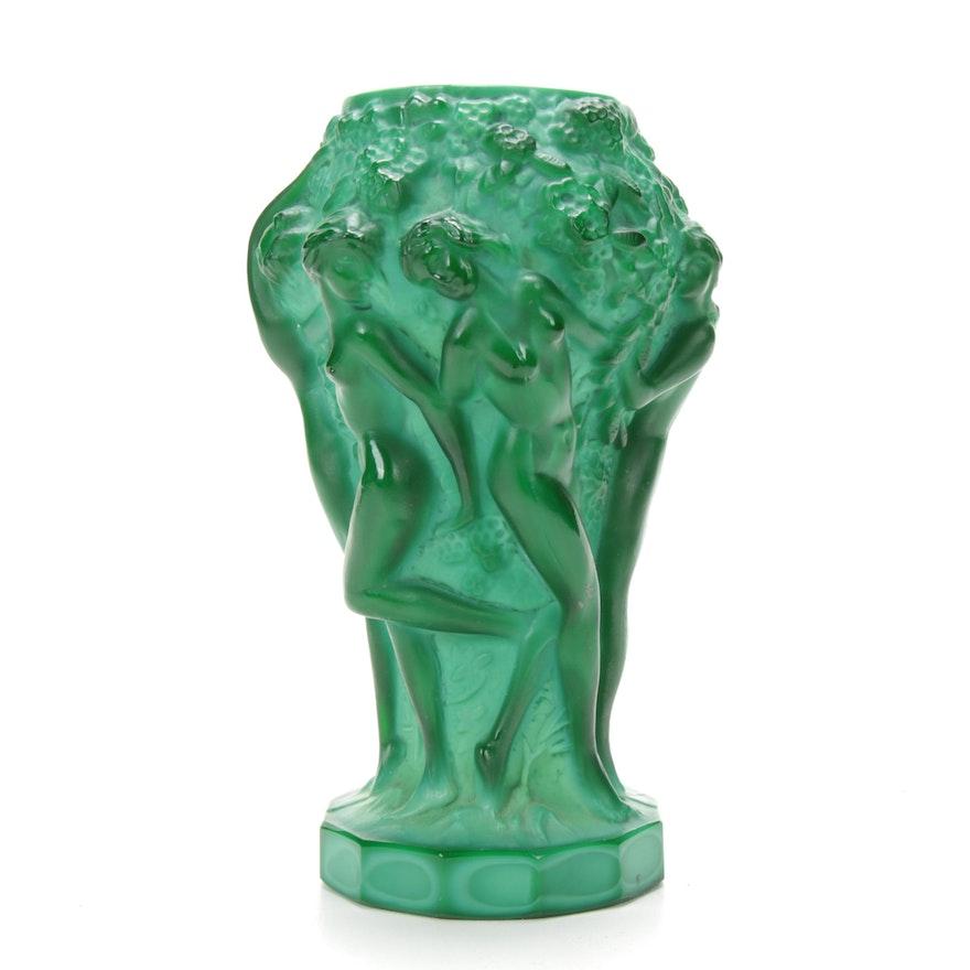 Bohemian Malachite Glass Vase in the Style of Frantisek Pazourek