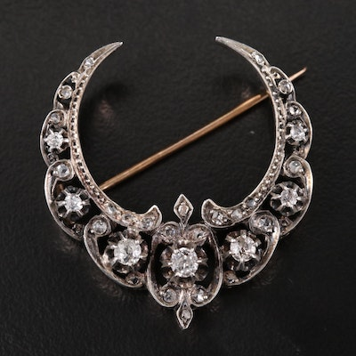 Antique French 18K and Silver Diamond Crescent Brooch with Buttercup Settings
