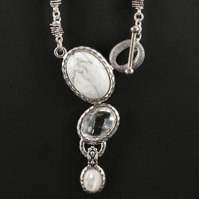 Michael Dawkins Sterling Howlite, Quartz and Mother of Pearl Necklace