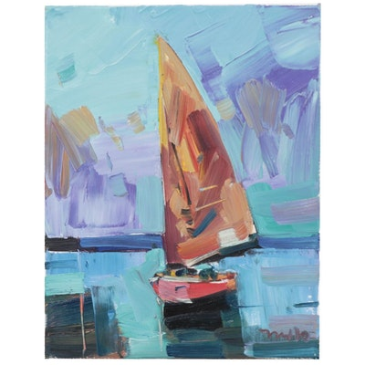 "Jose Trujillo Oil Painting ""The Orange Sail,"" 2019"