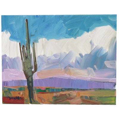 "Jose Trujillo Landscape Oil Painting ""The Saguaro Desert,"" 2019"