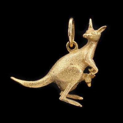 18K Yellow Gold Kangaroo and Joey Pendant